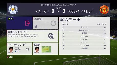 FIFA 18 キャリアモードの試合 メニューの操作_15